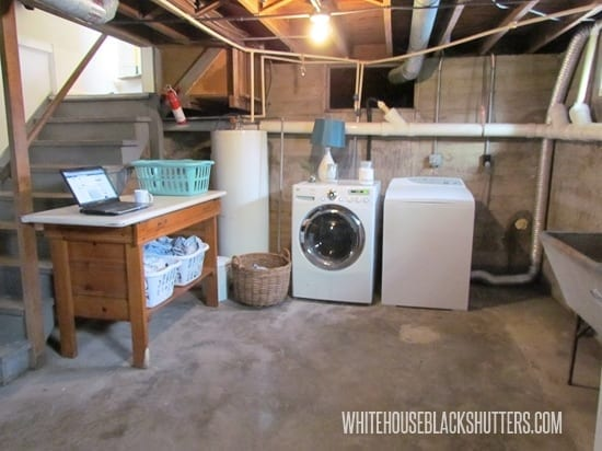 Basement laundry room clean up white house black shutters for Basement concrete cleaner