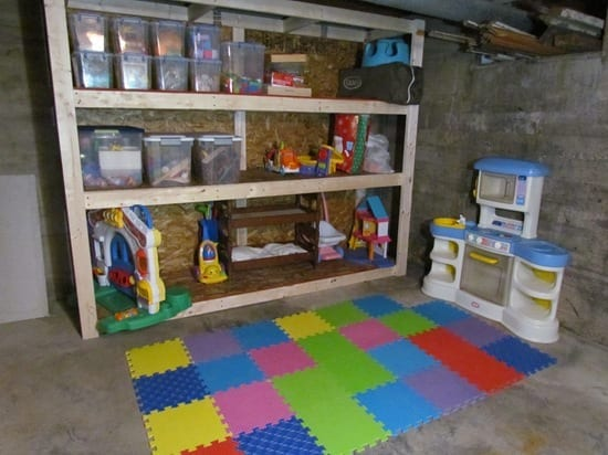 finished room over garage ideas - Kids Playroom in an Unfinished Basement white house