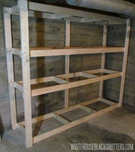 how to make a basement storage shelf rh whitehouseblackshutters com wood storage shelves plans plywood storage shelf plans