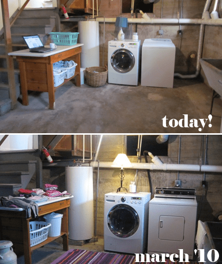 Basement Laundry Room Cleanup white house black shutters