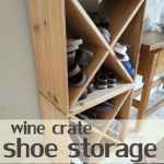 use thrifted wine crates as shoe storage in a small entry way or mudroom!