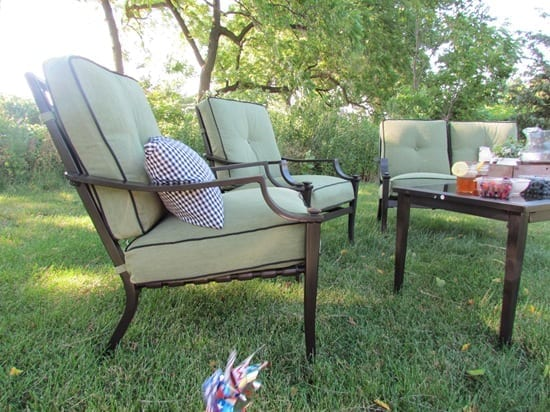 Amazing Kmart had a ton of great patio furniture to choose from both dining sets and relaxing sets like mine Click the image below to view their outdoor living