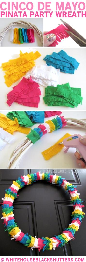 make a Pinata wreath out of felt for Cinco de Mayo! via @whbsblog