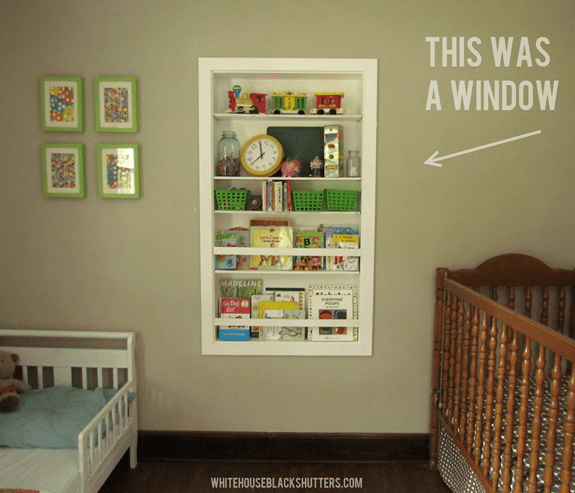 Built-In Shelf and Bookrack from an Old Window Opening