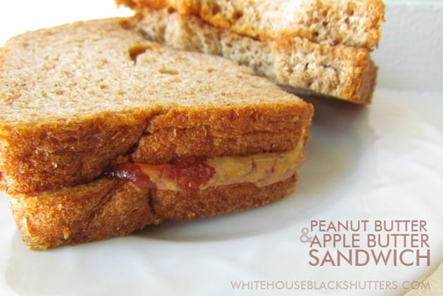Peanut Butter and Apple Butter Sandwich - white house black shutters