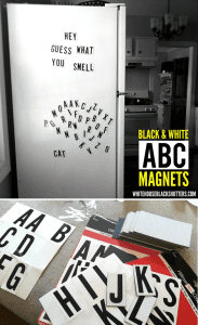 inexpensive, SUPER easy to make! black and white ABC magnets vinyl mailbox stickers