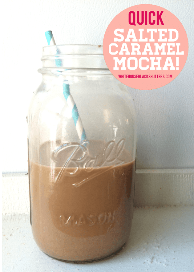 make a salted caramel mocha at home in 2 minutes! So simple and close to the real thing.