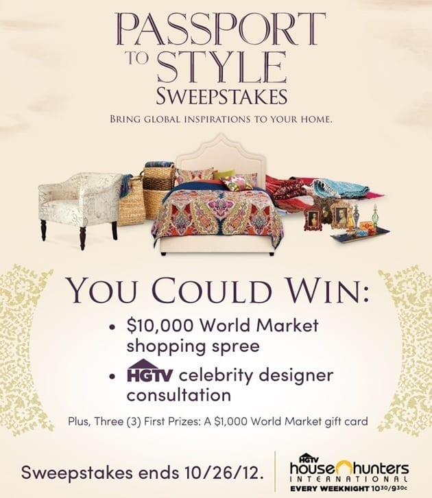 passport to style world market hgtv sweepstakes