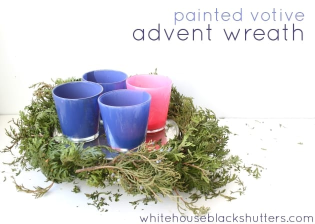 paint clear votives to recreate the look of candles for your advent wreath, via @whbsblog