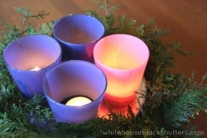 painted votive Advent wreath with tealights, via @whbsblog