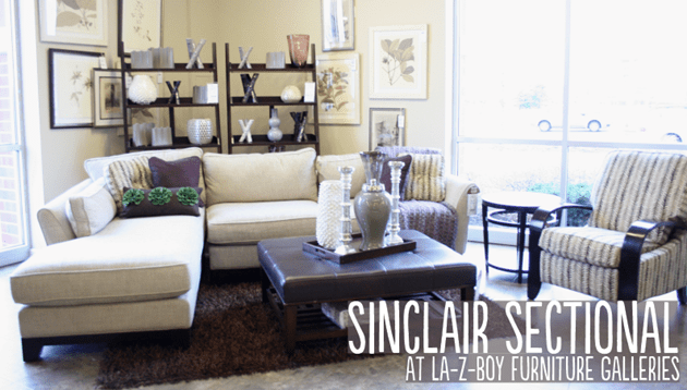 Sinclair Chaise Sectional At La Z Boy Furniture Galleries