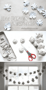 how to make egg carton snowflakes, fun for kids to help with!