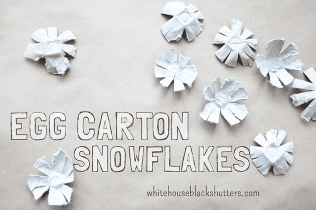 Simple egg carton snowflakes white house black shutters for Christmas decorations using egg cartons