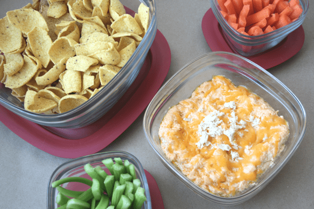 buffalo ranch wing dip made with sriracha! Love these glass Rubbermaid containers.