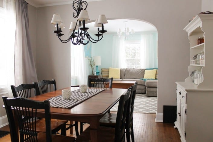 updated grey (greige), white, and black dining room