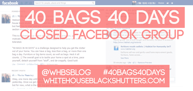 declutter your whole home a spot at a time for 40 days with whitehouseblackshutters.com. free organizing #printable, facebook group, and more! #40bags40days #cleaning #organizing #storage #simplify