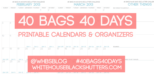 declutter your whole home a spot at a time for 40 days with whitehouseblackshutters.com. free organizing #printable, facebook group, and more! #40bags40days #cleaning #organizing