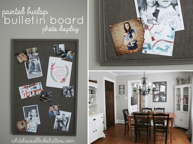 #painted #burlap bulletin board photo display #tutorial! via whitehouseblackshutters.com