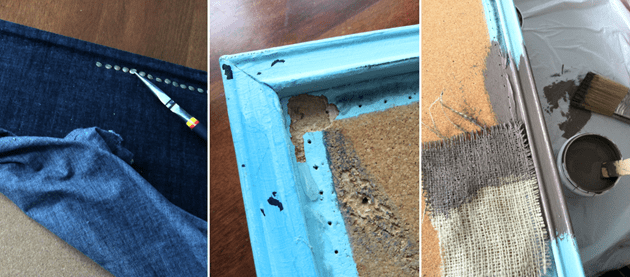 #painted #burlap bulletin board #tutorial via whitehouseblackshutters.com