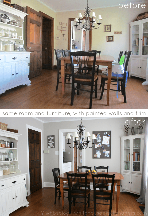#painted white trim #before and #after - same exact furniture, same room angle, but with new paint! via whitehouseblackshutters.com