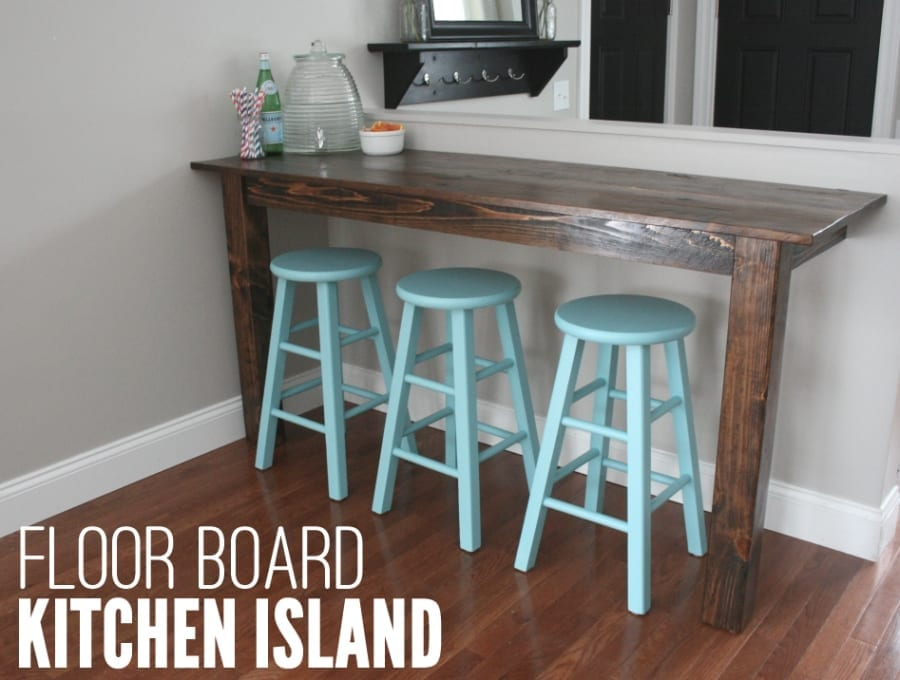 these 77 year old floor boards were upcycled into a rustic kitchen island!