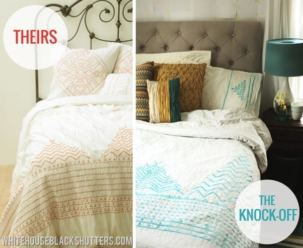 whitehouseblackshutters.com: puffy painted, no-sew Anthropologie duvet knockoff for 1/10 of the price!