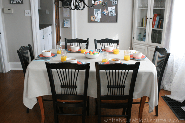 Elegant colorful and simple Easter brunch tablescape with items from Target