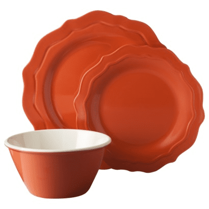 Threshold™ 12 Piece Scalloped Dinnerware Set in coral, $34.99 via @Target. Made of Melamine so won't break easily.