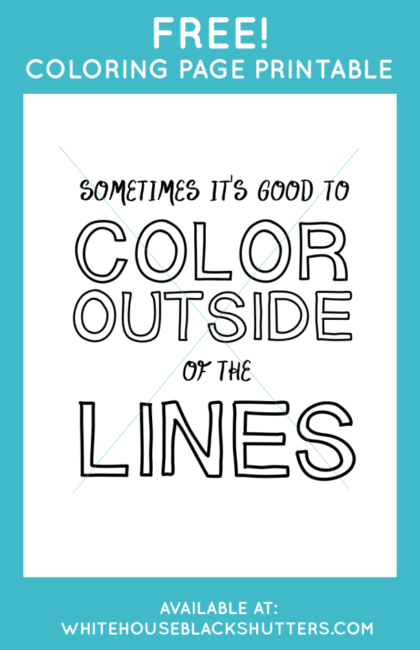 Color Outside the Lines Printable Coloring Page