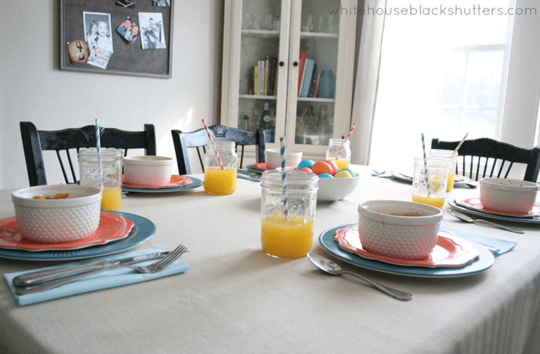 colorful and simple Easter brunch tablescape with items from Target!