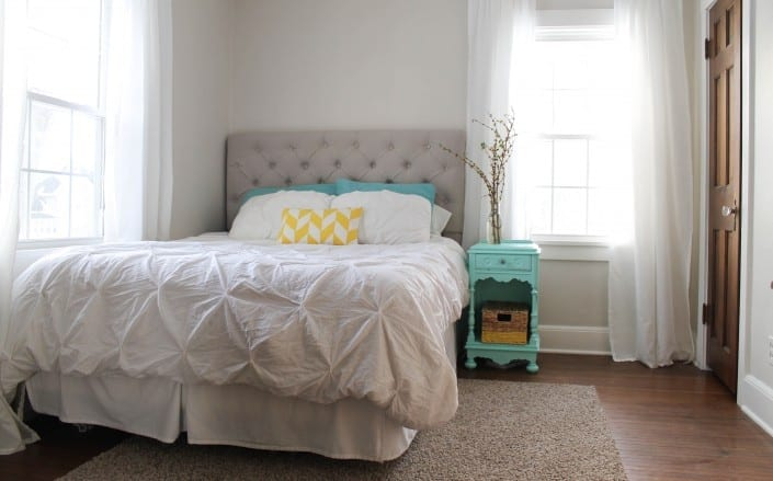 I am loving this calm and simple master bedroom!