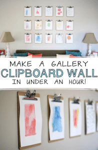 how to make a clipboard gallery wall! via @whbsblog Takes under an hour to make and much cheaper than frames.