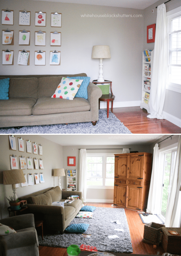I love this colorful family room! Looks like a real family lives here.