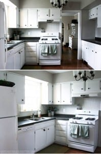 by repurposing, painting, and waiting for deals, this kitchen was made over using under $500.