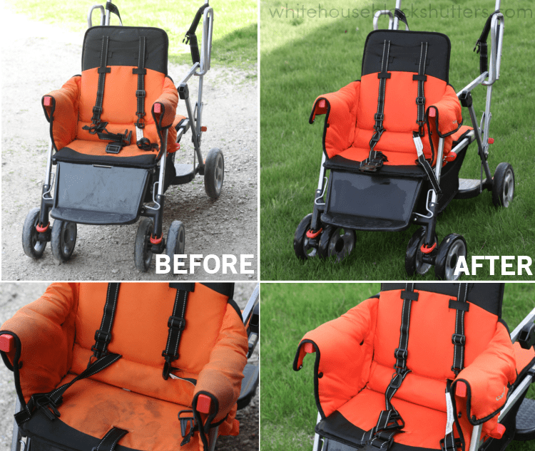 WOW! the best way to clean a stroller using all-natural, kid safe cleaners.