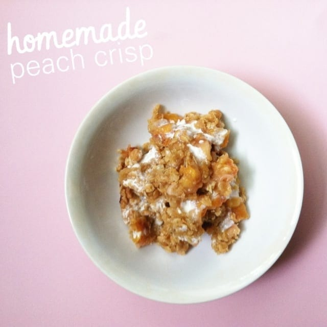 Homemade Peach Crisp with Cream
