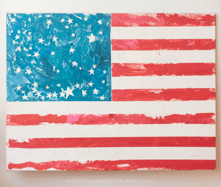 make a flag with painters tape, paint, and stickers! great project for kids