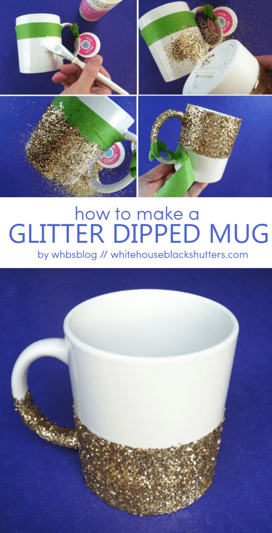 Glitter Dipped Coffee Mug White House Black Shutters