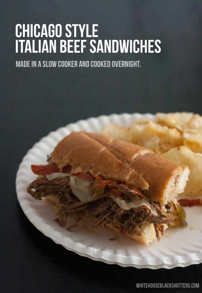 make Chicago style Italian beef sandwiches, with a slow cooker! Perfect for tailgating and watching football.