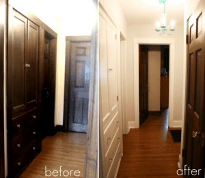 dark trim painted white with wood doors. Great before and after!