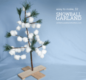 make this simple snowball garland for only $2! Great kid project. #Christmas #Holiday #Decorations