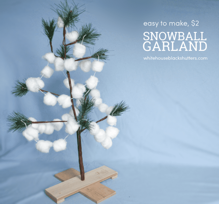 make this simple snowball garland for only 2 great kid project christmas