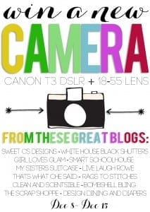 win a new Canon t3 camera and have it before Christmas! click to enter.