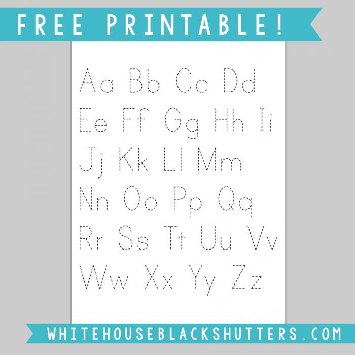 Letter Tracing Sheet Printable white house black shutters