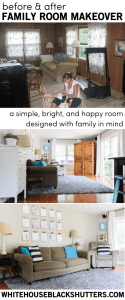 simple changes, secondhand furniture, and paint make this family room fun