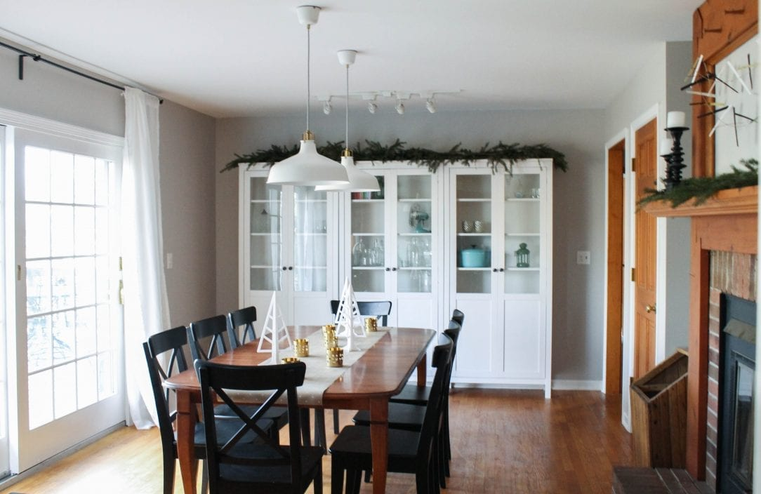 A Holiday Ready Dining Room Reveal - white house black shutters for Ikea Ranarp Pendant Lamp  54lyp