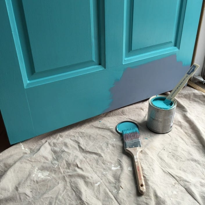 gallery for gray house turquoise door