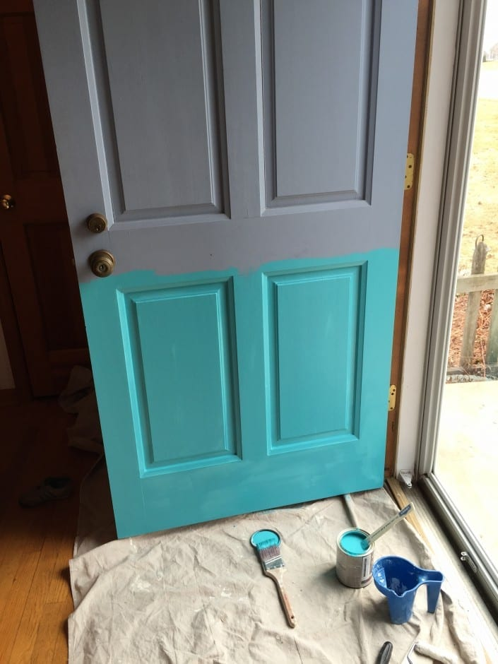 Gray House No Shutters Turquoise Door White House Black