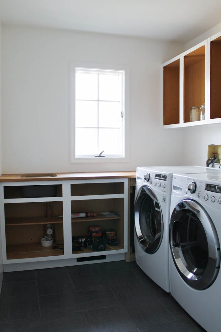 laundry room renovation update white house black shutters