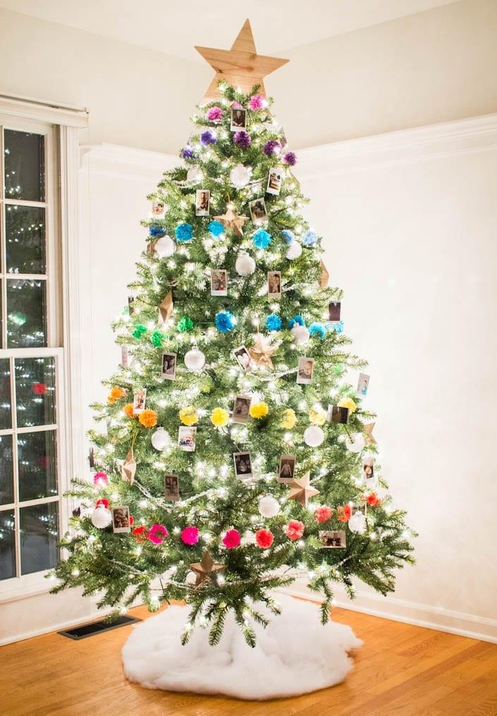Colorful Photo Christmas Tree White House Black Shutters